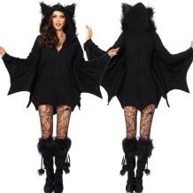Halloween Bat Women Black Costume Set