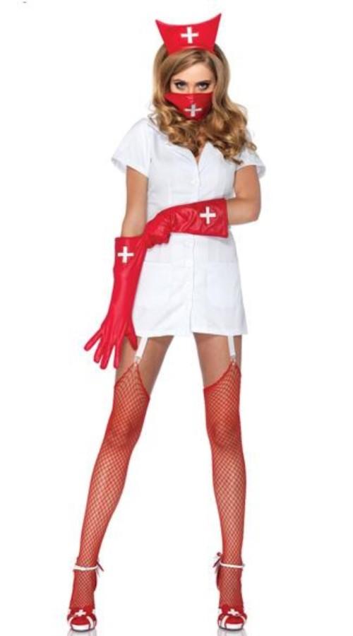 Fantasia sexy de enfermeira feminina para Halloween