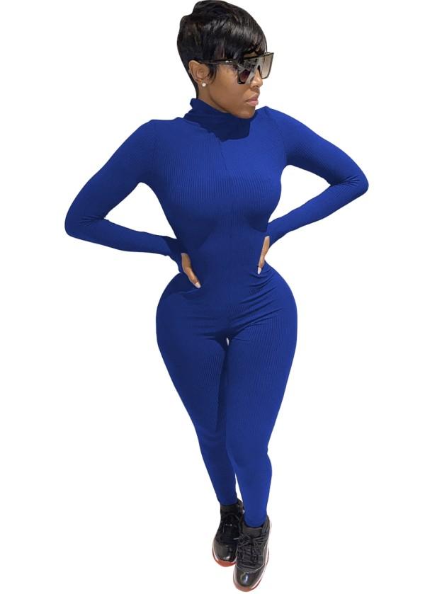 Autumn Sports Fitness Zipper Bodycon Jumpsuit