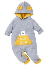 Baby Boy Langarm Cartoon Hoodie Strampler