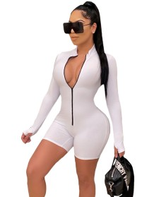 Sports Fitness Long Sleeve Zipper Bodycon Rompers