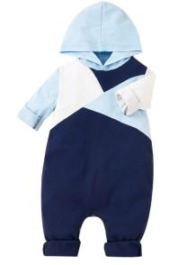 Barboteuse à capuche contrastante à manches longues pour bébé garçon