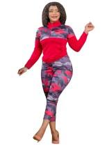 Plus Size Autumn 2pc Matching Red Camou manica lunga con cerniera tasca e pantaloni set