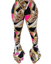 Pantalon évasé imprimé chaînes colorées africaines