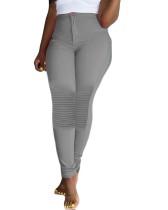Pantalon taille haute uni uni rayé