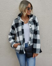 Button Up Plaid Print Polar Fleece Coat