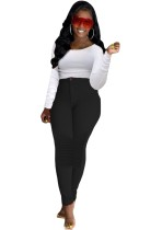 Autumn White Long Sleeve Shirt and High Waist Fitted Pants Set
