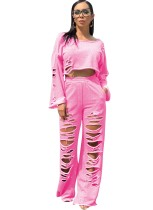 Conjunto de pantalón y top corto rasgado de 2 piezas Street Style