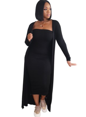 Autumn 2pc Solid Plain Tube Dress with Matching Cardigans