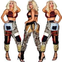 Pantalon de survêtement léopard à paillettes grande taille