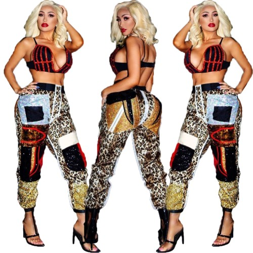 Plus Size Sequins Leopard Track Pants