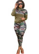 Plus Size Autumn 2pc Matching Green Camou manica lunga con cerniera tasca e pantaloni set