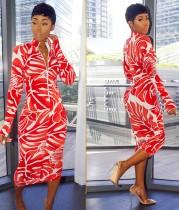 Vestido midi estampado africano de manga larga con cremallera