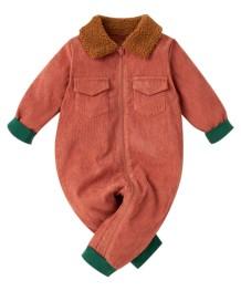 Barboteuse à glissière contrastante à manches longues pour bébé garçon