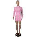 Autumn Long Sleeve Striped Zipper Sweat Dress