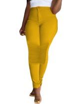 Pantalones entallados de cintura alta a rayas lisos