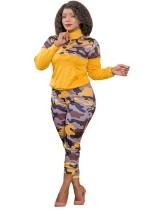 Plus Size Autumn 2pc Matching Yellow Camou manica lunga con cerniera tasca e pantaloni set