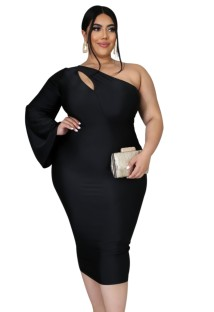 Plus Size One Shoulder Midi Kleid mit Single Sleeve