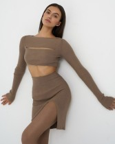 Autumn Knitted Sexy Cut Out Matching Crop Top and Mini Skirt Set