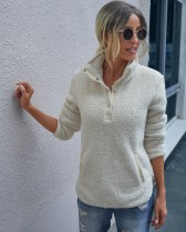 Top pullover con tasche in pile polare con bottoni