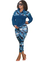 Plus-size herfst 2-delige bijpassende blauwe camou-set met lange mouwen en ritszak