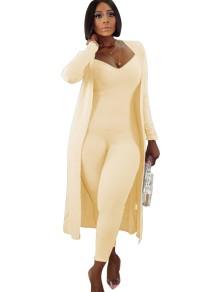Autumn 2pc Solid Plain Matching Jumpsuit and Cardigans Set
