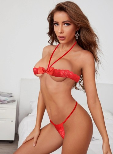 Red Lace Sexy Bra and Panty Lingerie Set