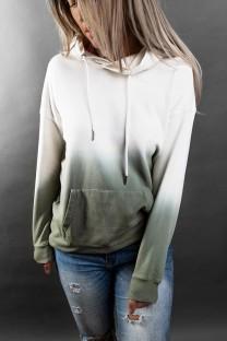 Осенний топ с капюшоном со свободными карманами и длинными рукавами