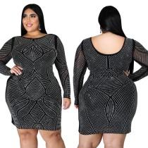 Vestido ajustado negro con cuentas sexy de fiesta de talla grande