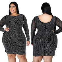 Plus Size Party Sexy Perlen Schwarz Bodycon Kleid