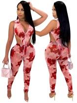 Conjunto de leggings de cintura alta y body a juego con estampado sexy de 2 piezas
