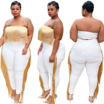 Plus Size Party Sexy Tassels Strapless Top and Pants Set