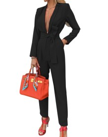 Solid Color Deep-V Long Sleeve Occassional Jumpsuit with Belt