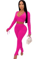 Solid Color 2pc Matching Fitted Crop Top and Pants Set