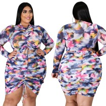 Plus Size 2pc Floral Ruched Top and Skirt Set
