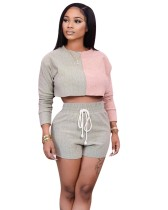 Autumn Contrast Long Sleeve Crop Top with Matching Shorts