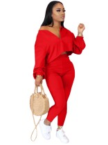 Solid Color 2pc Matching Loose Crop Top and High Waist Pants Set