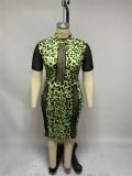 Plus Size Kurzarm Leopard Green Bodycon Kleid