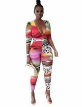 Sexy Tie Dye Leopard Bodycon Jumpsuit mit V-Ausschnitt
