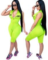 Sports Fitness Sleeveless Print Zipper Rompers