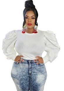Plus Size White Knit Fitted Top mit Puffärmeln