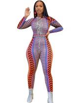 Sexy Geommetric Print Long Sleeve Bodycon Jumpsuit
