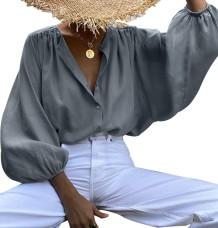 Осенняя однотонная свободная блуза с объемными рукавами