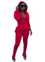 Solid Color 2pc Stacked Tracksuit with Full Sleeves