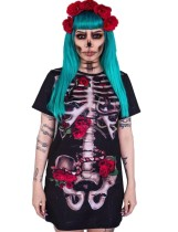 Zwart lang shirt met Halloween-print