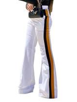 Pantalones anchos casuales a rayas de cintura alta