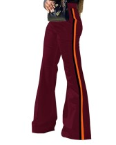 Casual Wide Legges High Waist Striped Trousers
