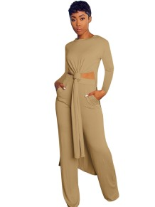 Solid Color 2pc Side Slit Long Shirt and Matching Pants Set