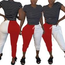 Pantalon de survêtement décontracté à cordons contrastants