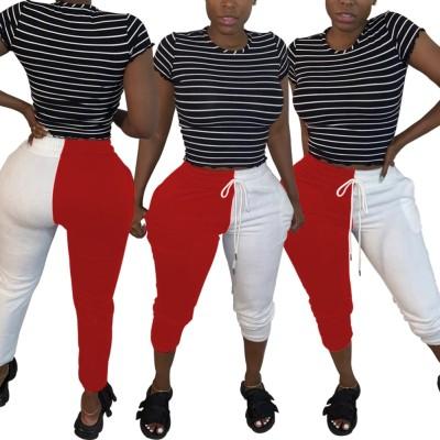 Pantalones deportivos casuales con cordones en contraste